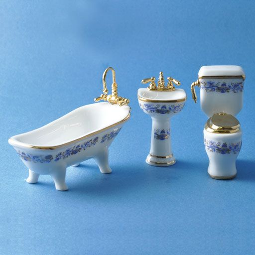 1/24 Scale 3-Pc. Royal Blue Bathroom Set