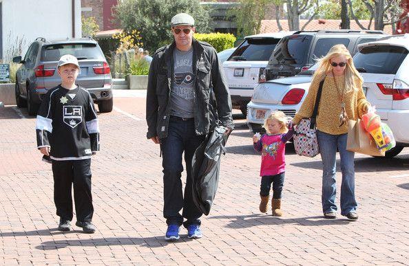 Jaime Bergman 'Bones' actor David Boreanaz and wife Jaime Bergman out shopping with their kids Jaden and Bardot in Malibu, Calfornia on March 24, 2012.