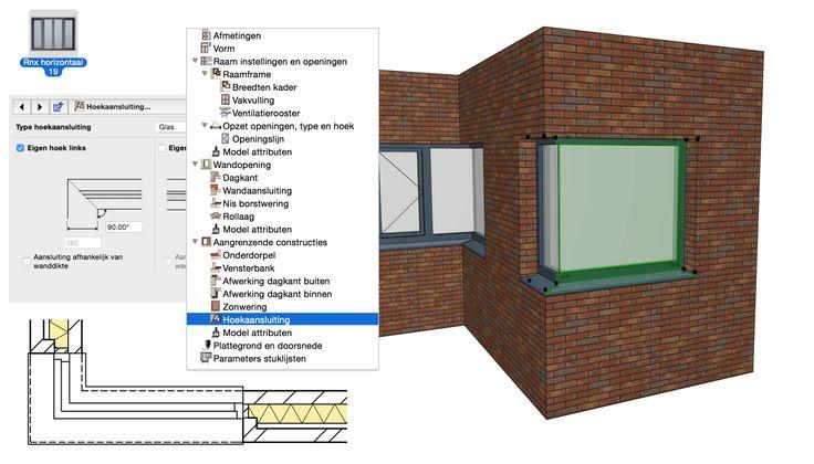 Een raam heeft altijd de keuze hoekraam met of zonder hoekkolom, maar het raam 'Rnx horizontaal' heeft de mogelijkheid tot een hoekraam glas-op-glas.