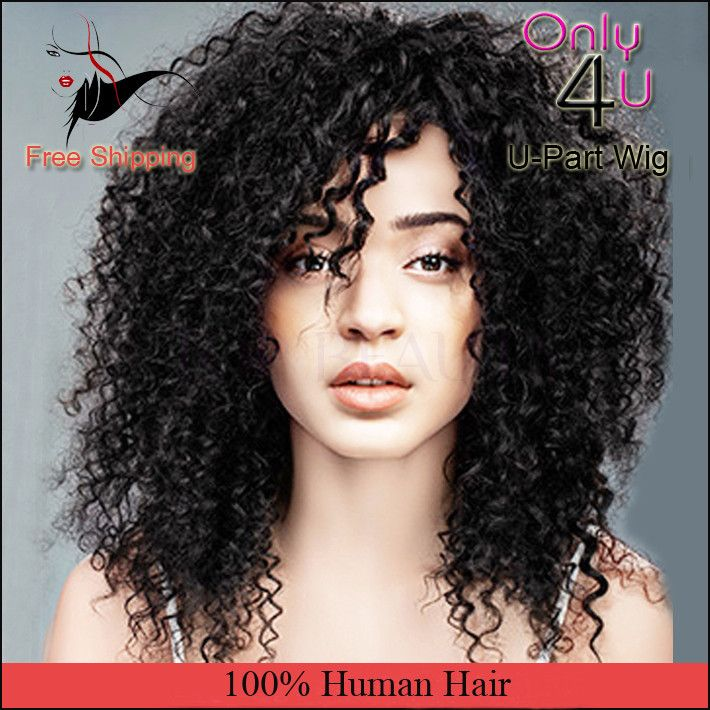 U Part Wigs For Black Women Part Jerry Curl Virgin