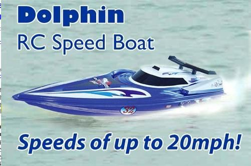 This is the new 80 cm long Dolphin RTR Electric RC Racing Speed Boat. This amazing boat is powered by a powerful 540 type racing motor, which for its size produces an incredible amount of power. It comes with professionally designed two large torsion propeller, providing a huge amount of pressure. Its hard plastic body design gives the boat extreme durability.    http://www.nitrotek.dk/rc-bade.html