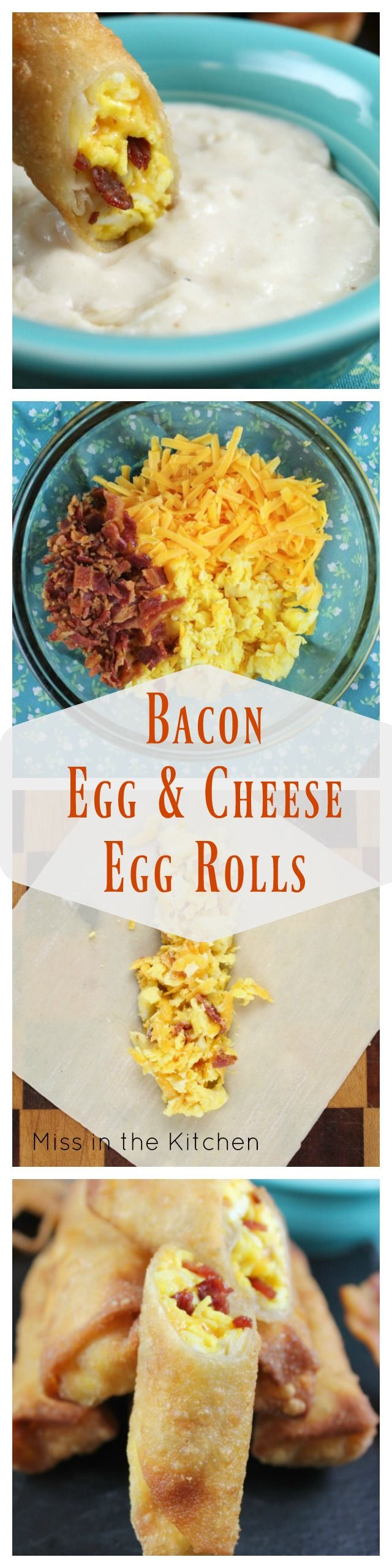 Bacon Egg and Cheese Egg Rolls Recipe ~ Perfect Make Ahead Breakfast from MissintheKitchen.com