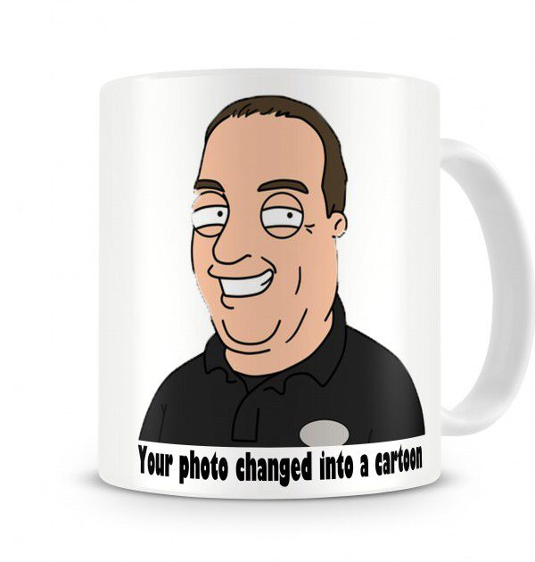 £17.99 - £20 - Your photo turned into a funny cartoon character  Personalised photo mugs make a great way to display fun memories and make great gifts for birthdays, christenings, engagements, anniversaries, weddings, Christmas or Mother's Day or Father's Day.