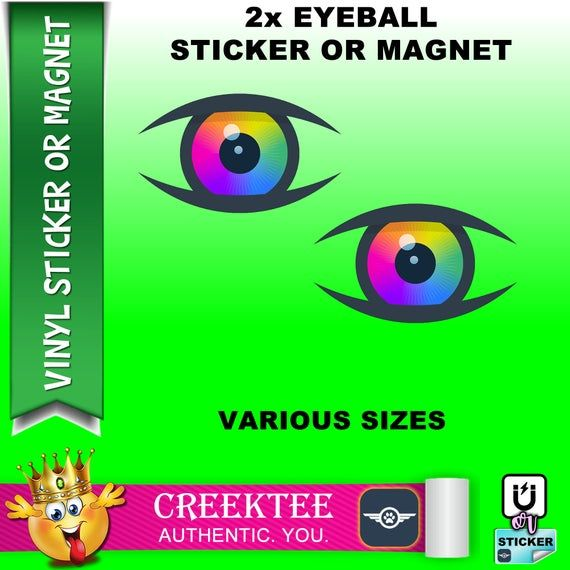2x Eyeball Vinyl Sticker Or Magnet Vinyl Sticker Laminate Uv Laminate And Magnet Options Various Sizes In 2020 Vinyl Sticker Vinyl Bumper Stickers
