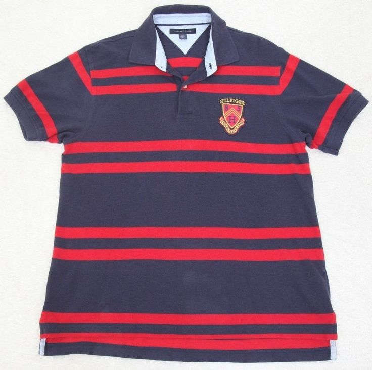 Tommy Hilfiger Polo Shirt Blue Red Short Sleeve Cotton Mens Striped Large Man #TommyHilfiger #PoloRugby