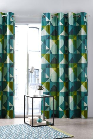 Buy Teal Abstract Geo Print Eyelet Curtains from the Next UK online shop