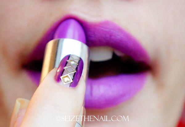 U as moradas con labios morados violet nails and lips for Marmol color morado