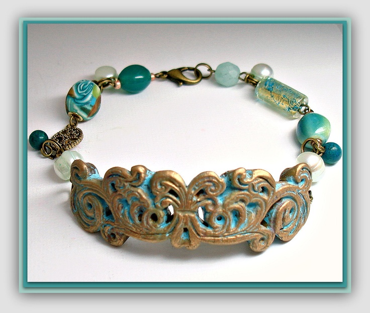 Victorian Turquiose & Brass Filligree Bracelet with Freshwater Pearls, handmade jewelry.