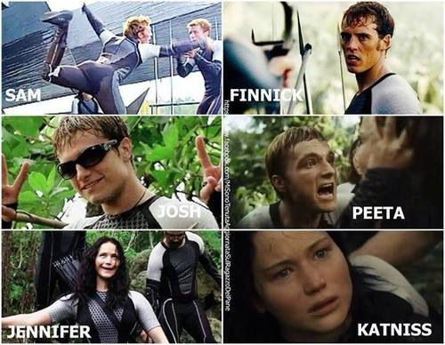 The hunger games cast. Oh the differences