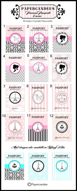 THE ORIGINAL Paris Passport Invitations - Paris Invitation Set of 12 - Assembled by PAPERCANDEE. $39.00, via Etsy.