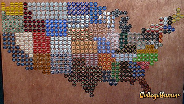 America Represented in Beer Bottle Caps. When your alcoholism interfering with Geography class is actually a good thing.. Art, cool, maps, usa, beers