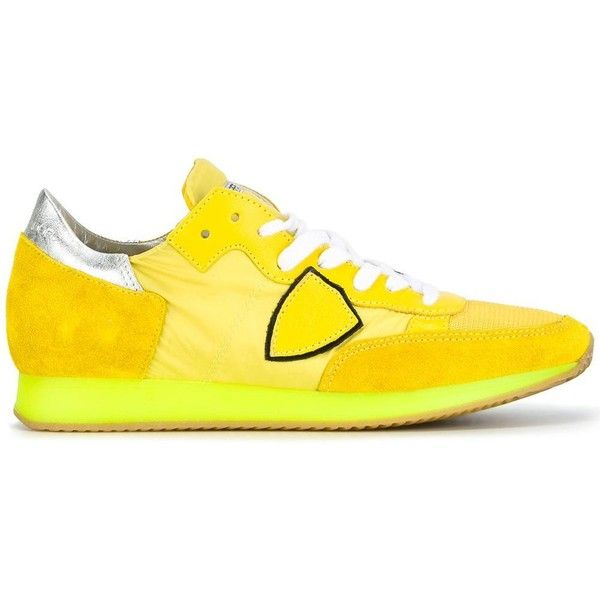 Philippe Model Panelled Sneakers (16,470 INR) ❤ liked on Polyvore featuring shoes, sneakers, real leather shoes, leather sneakers, philippe model, leather trainers and neon yellow shoes