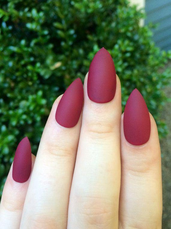 Matte nails maroon nails fake nails stiletto nails by nailsbykate