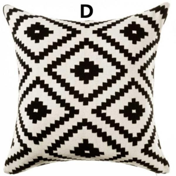 Black and white geometric contemporary decorative pillows abstract argyle pattern large sofa cushions