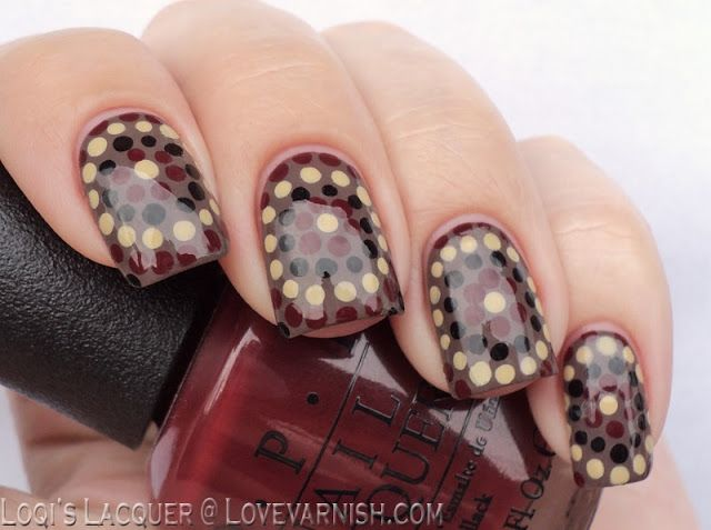 Day 16 - Tribal Print Nails. Loqi's entry featuring an aboriginal inspired dotticure