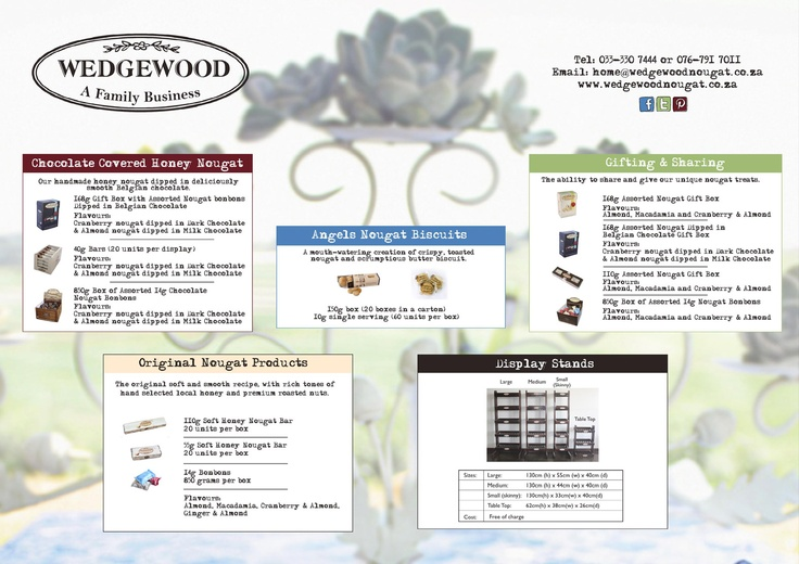 An easy overview of Wedgewood Nougat products - yum!