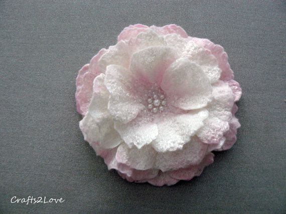 Felted flower brooch. Felted wool flower pin. Soft by Crafts2Love