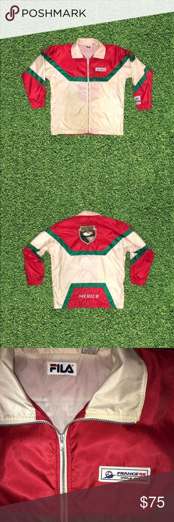 Vintage Fila 1998 World Cup Mexico Windbreaker In 2020 Fila Jacket Windbreaker Windbreaker Jacket