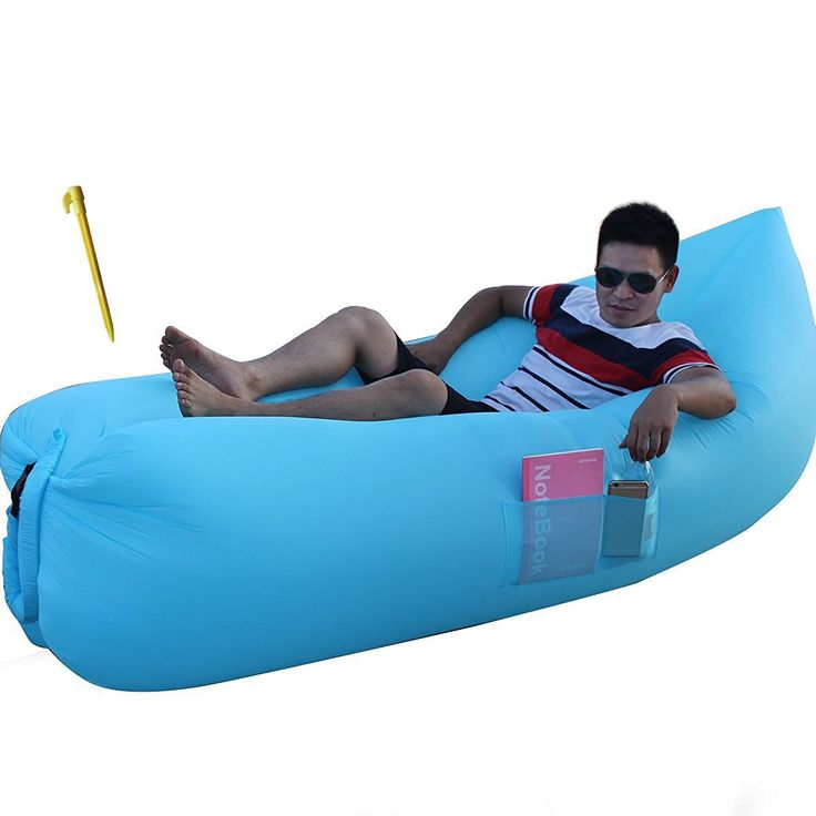 GERYMU Camping Banana Inflatable Lazy Bag Sofa Compression Air Sleeping Beach Bed Lounger Convenient Hangout Bean Bag Laybag ( Plaid ) ** You can get more details here : Air Lounges
