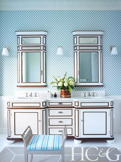 Guest bathroom with custom vanity and cherry-wood details in a Hamptons beach house | Hamptons Cottages & Gardens | June 2014