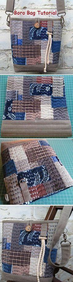 Japanese Boro Denim Tote Bag. DIY step-by-step tutorial with pictures. Мастер-класс: сумка в стиле «Боро». www.handmadiya.co...
