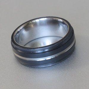 Black teflon titanium ring
