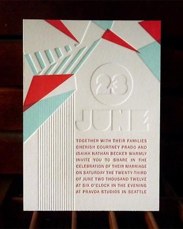 moderna y deco una inolvidable invitacion de boda en letterpress