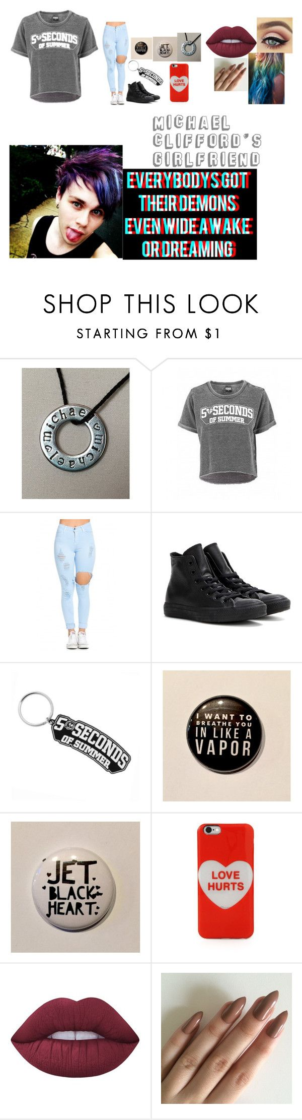 """""""Michael Clifford's Girlfriend"""" by the-happy-emo ❤ liked on Polyvore featuring Converse, Marc Jacobs and Lime Crime"""