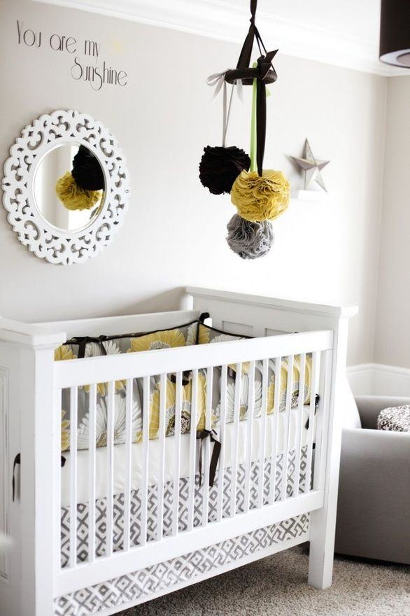 Cute nursery ideas: Mirror, Fabrics Ball, Colors Schemes, Cribs, Baby Rooms, Pom Pom, Yellow Nurseries, Nurseries Ideas, Mobile