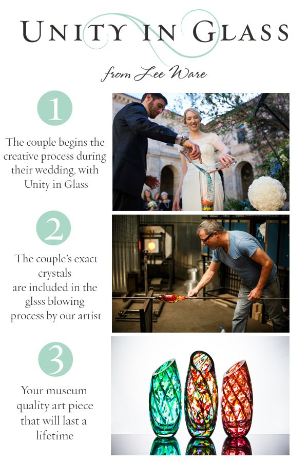3 steps to the most elegant and lasting wedding keepsake. A new unity ceremony option working with Unity in Glass. 1. Kick off the creative process at your wedding by combining your selection of our glass color crystals.   2. Return to our glassblower with our prepaid mailer (US clients only.  International clients will need to cover shipping)  3. We use the glass color mixed at your wedding to create our sculpture, vase, or bowl.  We have over 300 5-Star Reviews on WeddingWire and Facebook.