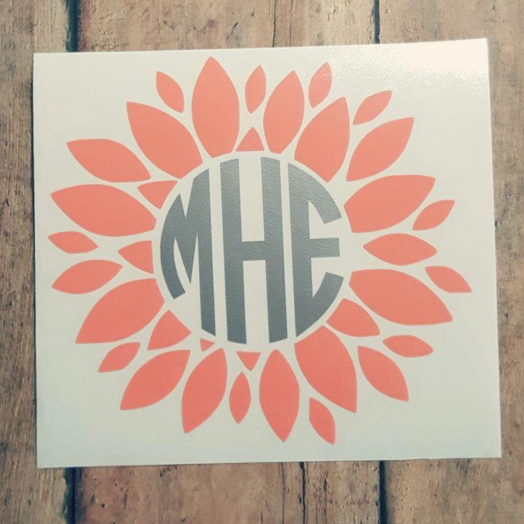 Sunflower Monogram, Dahlia Monogram, Flower Monogram, Monogram Decal, Flower Decal