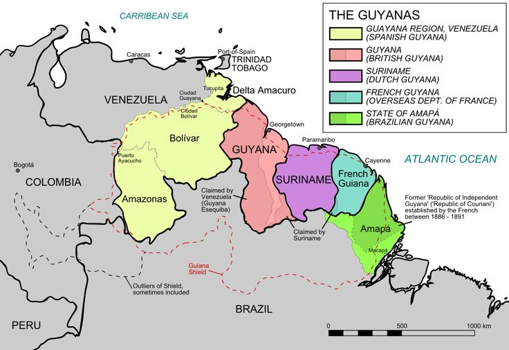 Map of the Guyanas