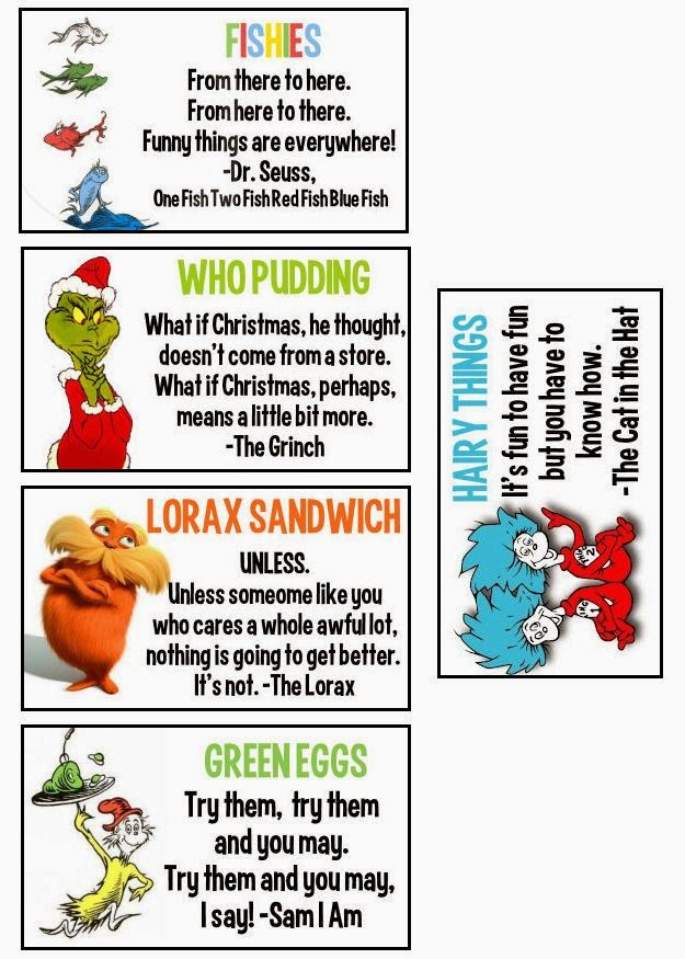 FREE Dr Seuss Lunchbox Notes
