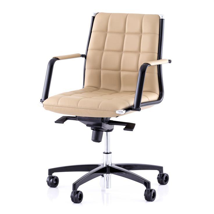 Kancelářské křeslo Vega S manager - černé kovy a kůže pískové barvy