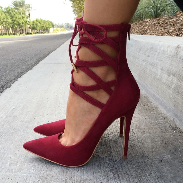 laced up red pumps