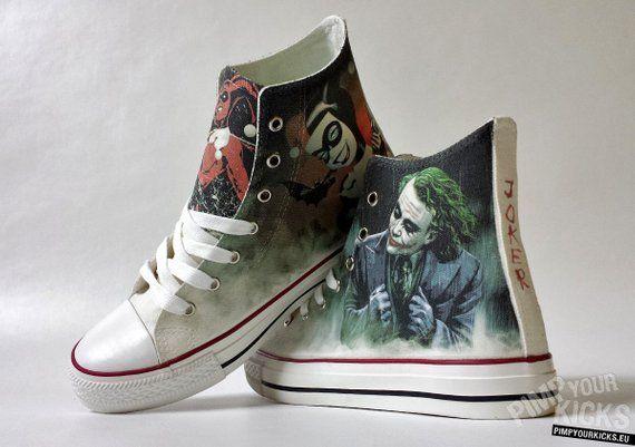 3e55a859c5d9 Fanart Joker and Harley requested custom shoe decoration