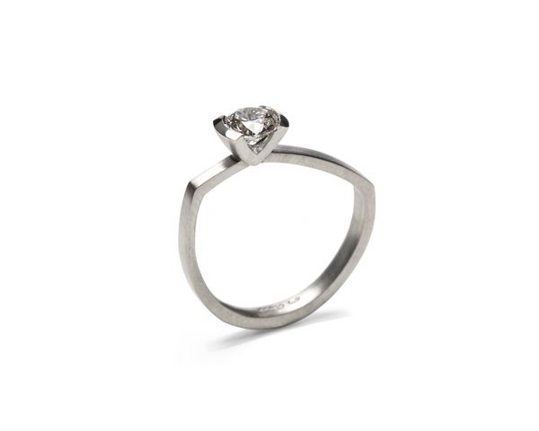 asymmetric butterfly ring in platinum