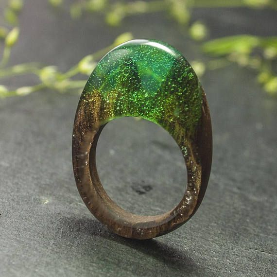 Ring  teak wood and resin