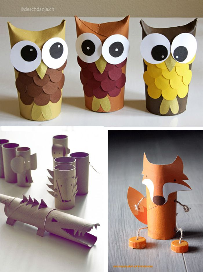 5 juguetes con rollos de cartón. / 5 toys with toilet paper rolls