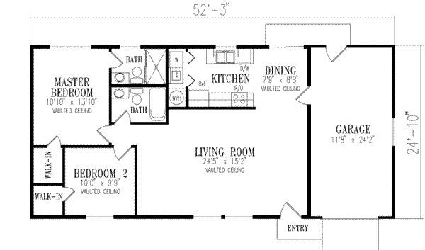 2 Bedroom House plans 1000 Square Feet | 1000 square feet, 2 bedrooms, 2 batrooms, 1 parking space, on 1 levels ...