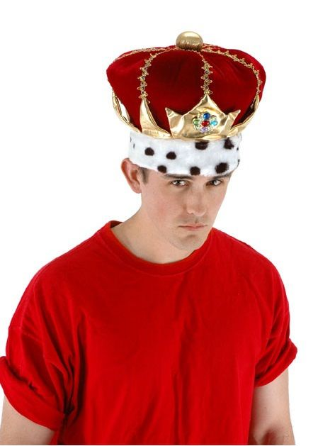 Royal Red King Hat -  Assert your royal authority when you don this noble and dignified King Hat. A classic red velour with faux fur white and black polka dot trim. Stately and just, this king hat will be an excellent addition to your next Halloween costume or themed party.