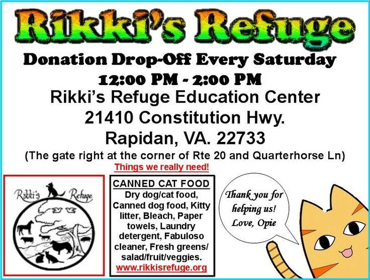 Donation drop-off Sat 2/1 12-2 PM @rikkisrefuge Education Center #Rapidan #VA See graphic for info! RT!