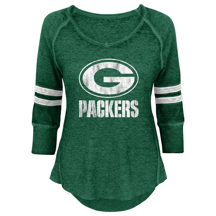 Packers Juniors Relaxed 3/4 Raglan Thermal Top at the Packers Pro Shop