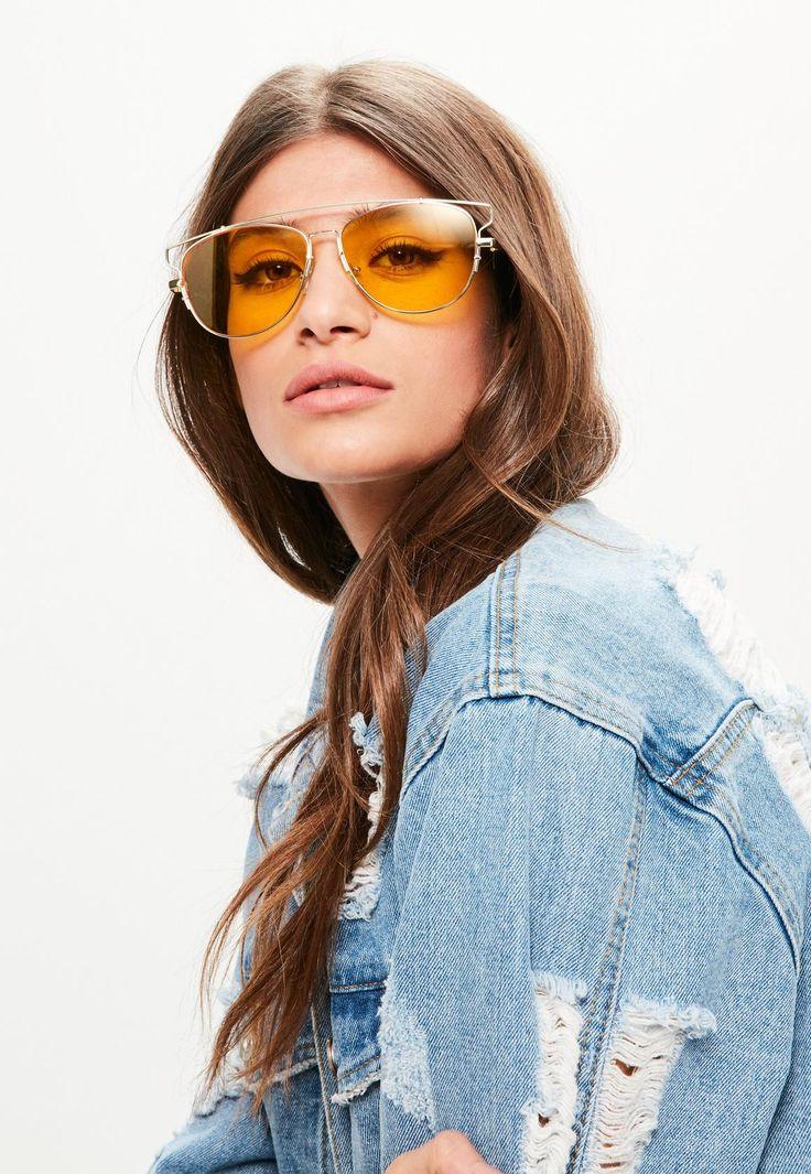 Missguided - Yellow Metal Frame Aviator Sunglasses