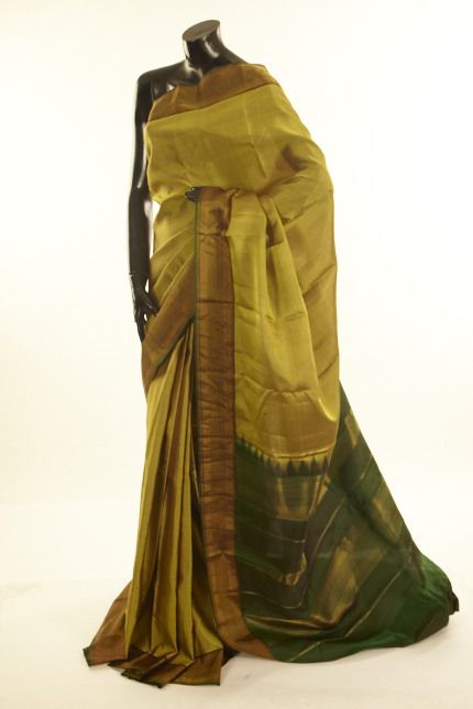 silk military olive green saree with blouse