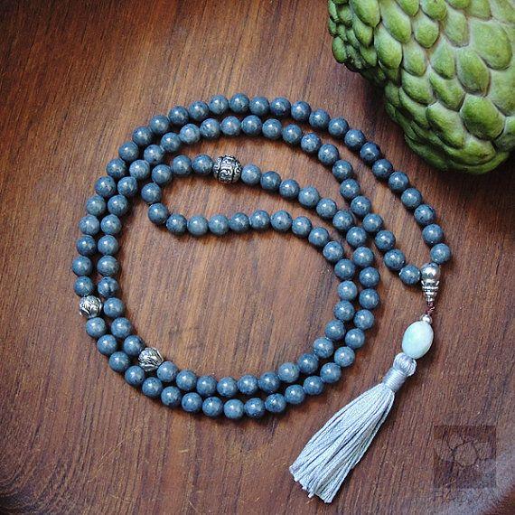 108 Jade beads Tibetan style beads Sanskrit Mantra by PadmaZenArt, $75.00
