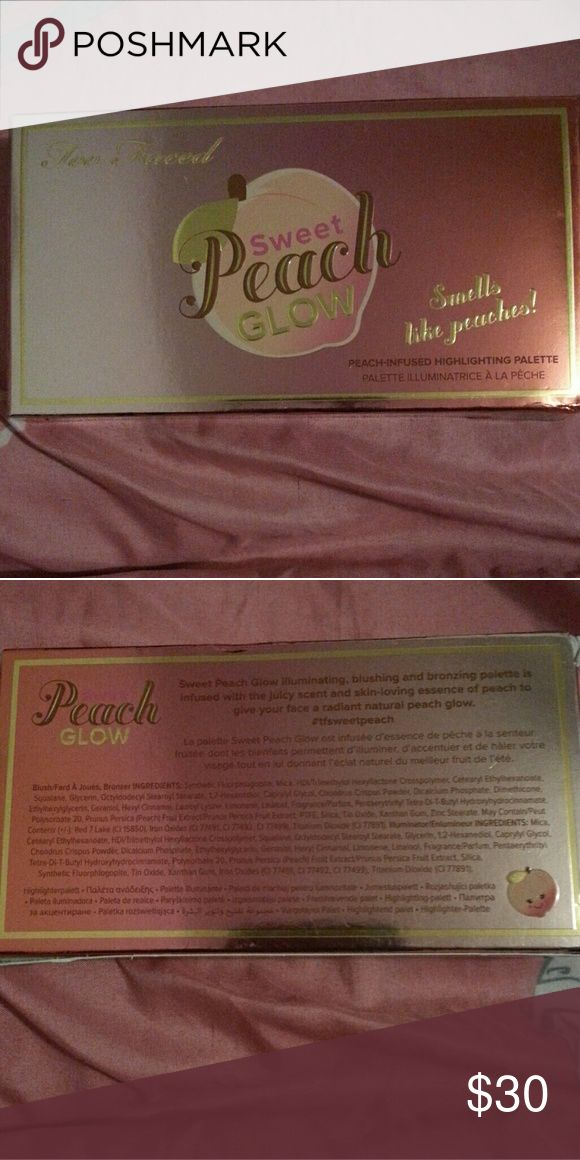 Too Faced Sweet Peach Glow Too Faced Sweet Peach Glow illuminating, blushing, and bronzing palette. Infused with the juicy scent and skin loving essence of peach to give your face a radiant natural Peach glow. Purchased from Sephora for $44 Too Faced Makeup