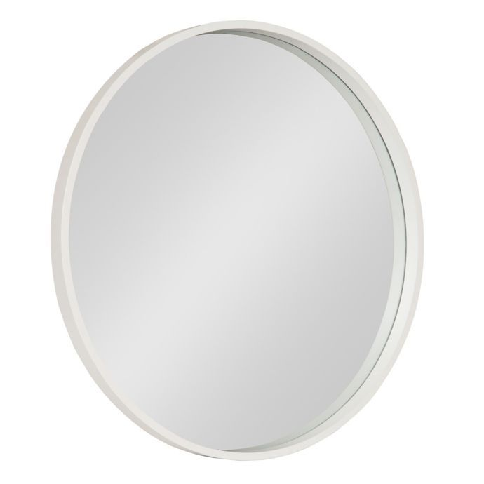 Kate And Laurel Travis 25 6 Inch Round Wall Mirror In White Mirror Wall White Wall Mirrors Wood Accent Wall