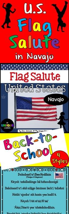 Public school students on the Navajo Reservation in New Mexico say the Pledge of Allegiance in Navajo each morning. This product consists of 4 posters designed for use in the classroom to assist students in learning the salute to their state flag. 2 COLOR, 2 BLACK & WHITE.