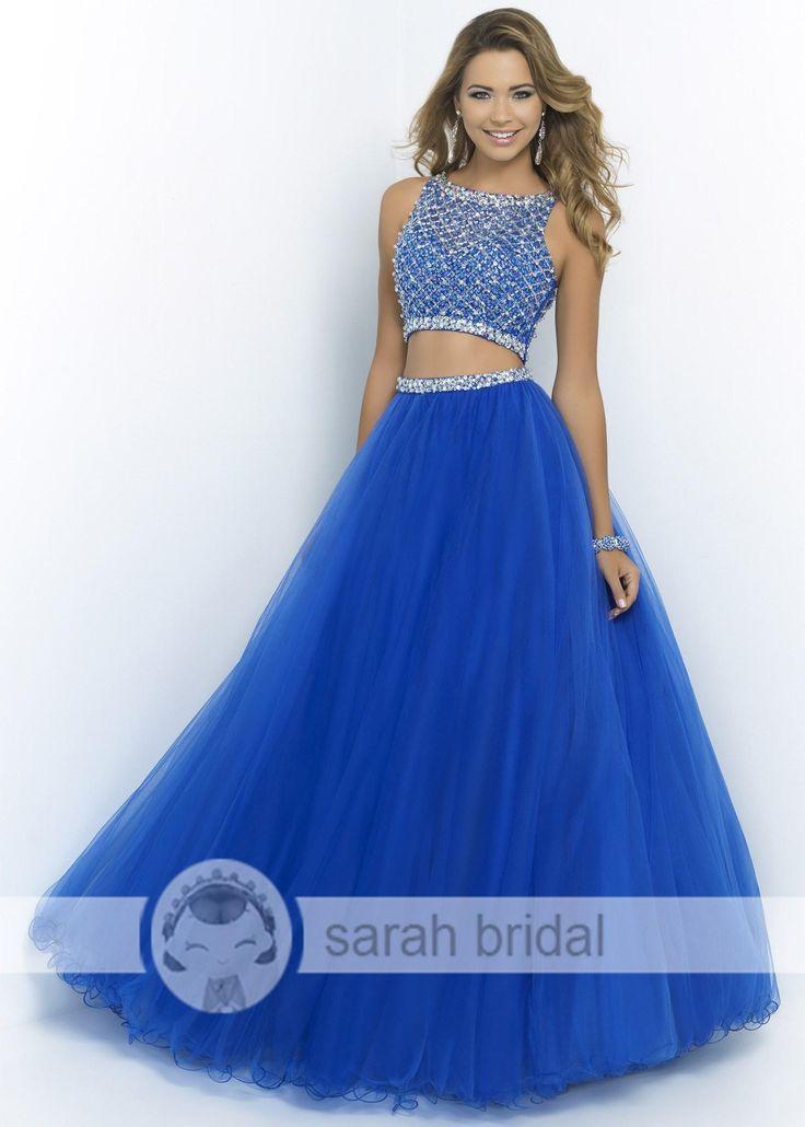 2015 cuello alto azul Sexy Dos Piezas vestidos de baile baratos rebordear de Tulle vestidos de noche del partido de fiesta formal Sheer Beauty Queen desfile del vestido A-Line